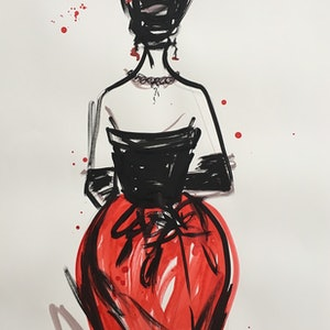 (CreativeWork) Red Balenciaga Fashion by Jewell Homad Johnson. mixed-media. Shop online at Bluethumb.