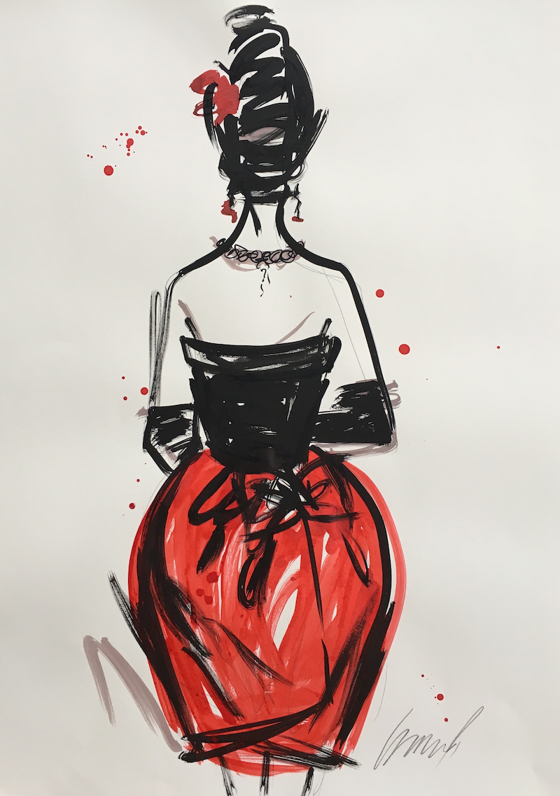 (CreativeWork) Red Balenciaga Fashion by Jewell Homad Johnson. Mixed Media. Shop online at Bluethumb.