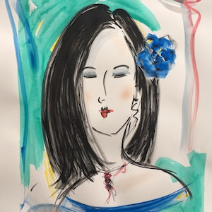 (CreativeWork) Black Haired Woman with Blue Flower by Jewell Homad Johnson. mixed-media. Shop online at Bluethumb.
