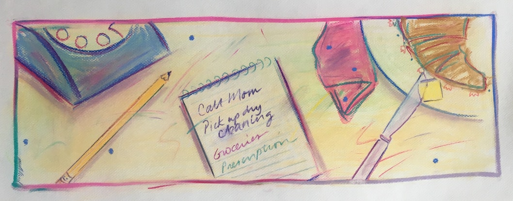 (CreativeWork) Shopping List - Call Mom - Collectable 80s by Jewell Homad Johnson. Drawings. Shop online at Bluethumb.
