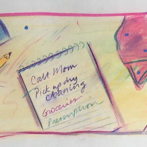 (CreativeWork) Shopping List - Call Mom - Collectable 80s by Jewell Homad Johnson. drawing. Shop online at Bluethumb.