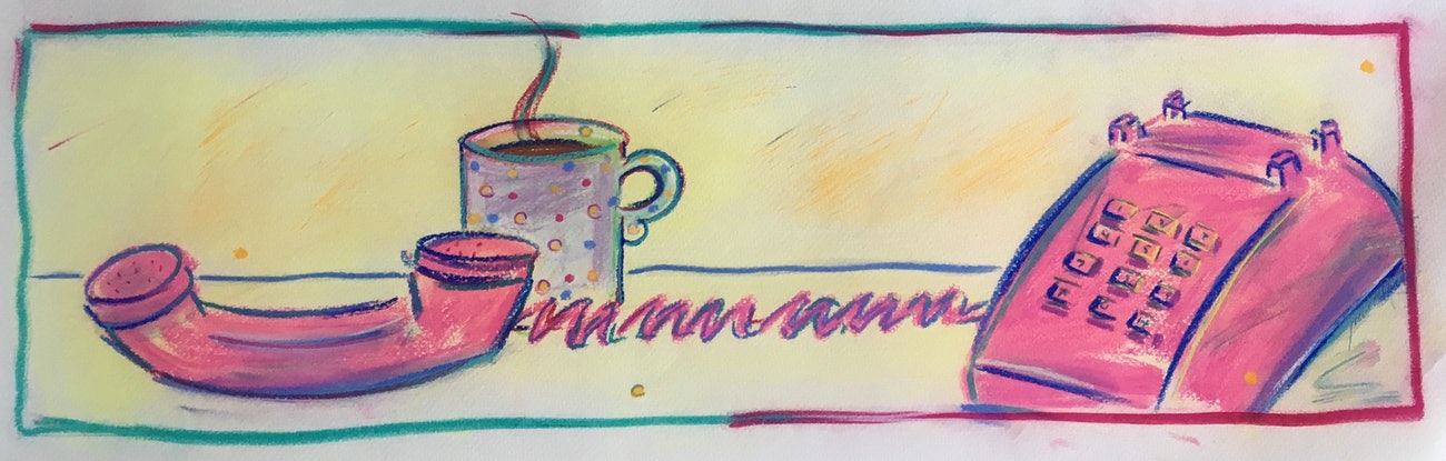 (CreativeWork) Old School Phone and Mug - Collectable 80s by Jewell Homad Johnson. Drawings. Shop online at Bluethumb.