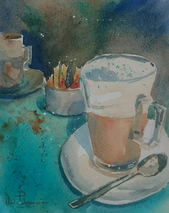 (CreativeWork) Coffee Time. by Vivi Palegeorge. Watercolour Paint. Shop online at Bluethumb.