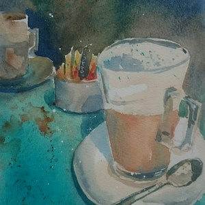 (CreativeWork) Coffee Time. by Vivi Palegeorge. watercolour. Shop online at Bluethumb.