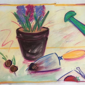 (CreativeWork) Gardening Scene - Collectable 80s by Jewell Homad Johnson. mixed-media. Shop online at Bluethumb.