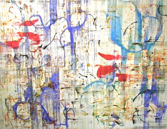 (CreativeWork) Abstract Blues on Canvas - Ready to Hang by Jewell Homad Johnson. Mixed Media. Shop online at Bluethumb.