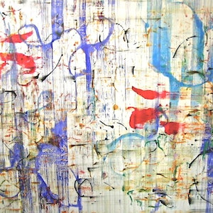 (CreativeWork) Abstract Blues on Canvas - Ready to Hang by Jewell Homad Johnson. mixed-media. Shop online at Bluethumb.