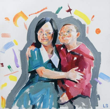 (CreativeWork) Mates by Loribelle Spirovski. oil-painting. Shop online at Bluethumb.