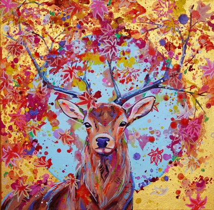 (CreativeWork) Autumn Herald - Fantasy Stag painting by Eve Izzett. Acrylic Paint. Shop online at Bluethumb.
