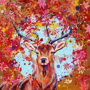 (CreativeWork) Autumn Herald - Fantasy Stag painting by Eve Izzett. arcylic-painting. Shop online at Bluethumb.