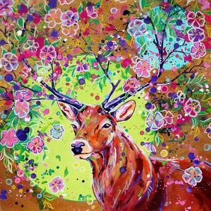 (CreativeWork) Spring Herald - Fantasy Stag painting by Eve Izzett. arcylic-painting. Shop online at Bluethumb.