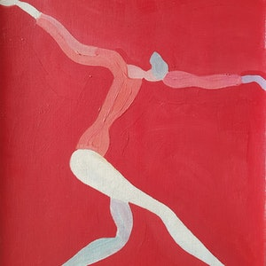 (CreativeWork) Gymnast - Red by Yiwei Shi. oil-painting. Shop online at Bluethumb.