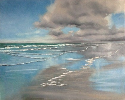 (CreativeWork) Seascape study 2 by Roxanne Raschella. oil-painting. Shop online at Bluethumb.