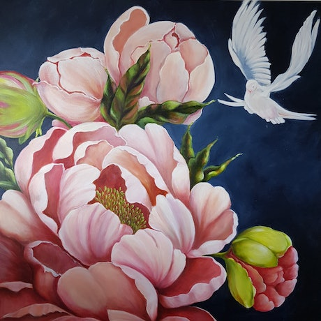 (CreativeWork) Peony and Dove by Christine Hookham. Acrylic Paint. Shop online at Bluethumb.