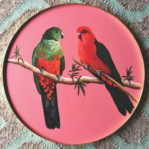(CreativeWork) King Parrot Pair  by HEYLIE MORRIS. arcylic-painting. Shop online at Bluethumb.