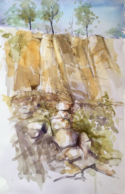 (CreativeWork) Werribee Gorge State Park  , Victoria  by Geoff Stanistreet. watercolour. Shop online at Bluethumb.