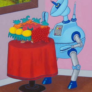 (CreativeWork) Still Life With Droid by BRETT ROSE. arcylic-painting. Shop online at Bluethumb.