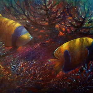 (CreativeWork) chasing coral  #15 by Eugene Rubuls. oil-painting. Shop online at Bluethumb.