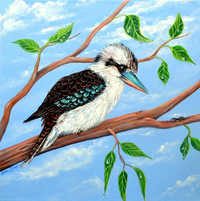 (CreativeWork) Kookaburra and the Ant by Linda Callaghan. Acrylic Paint. Shop online at Bluethumb.