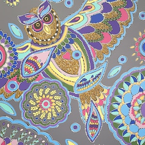 (CreativeWork) Fretwork Owl by Karen McKenzie. acrylic-painting. Shop online at Bluethumb.