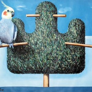 (CreativeWork) Bird in the bush by Geoff Coleman. arcylic-painting. Shop online at Bluethumb.