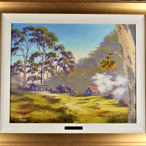 (CreativeWork) Rural living -  Wisemans Ferry, NSW by Kith Gunawardane. oil-painting. Shop online at Bluethumb.