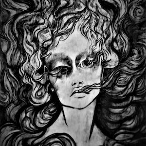 (CreativeWork) Smoldering mind Print; black and white Ed. 1 of 1 by Holly Maclean. print. Shop online at Bluethumb.