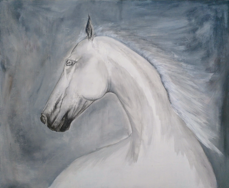 (CreativeWork) White Horse  by Amanda Skye. arcylic-painting. Shop online at Bluethumb.