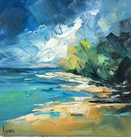 (CreativeWork) Storm approaching by Ivana Pinaffo. oil-painting. Shop online at Bluethumb.