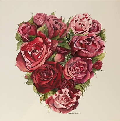 (CreativeWork) Heart of Roses by Julie Christensen. Watercolour Paint. Shop online at Bluethumb.