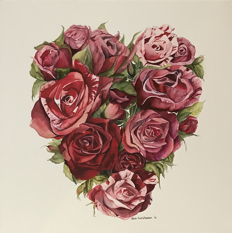 (CreativeWork) Heart of Roses by Julie Christensen. watercolour. Shop online at Bluethumb.