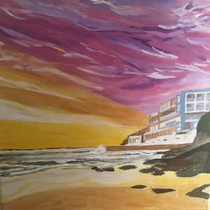(CreativeWork) Sky, sea, sunrise  by Laura Quickfall. arcylic-painting. Shop online at Bluethumb.