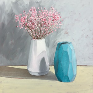 (CreativeWork) Blossom with geometric vase by Sandra Jenkins. oil-painting. Shop online at Bluethumb.