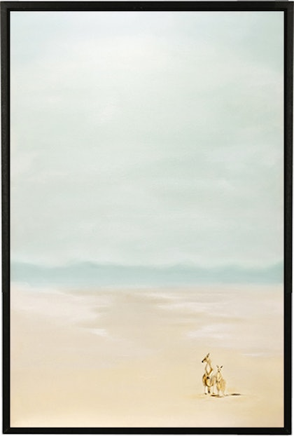(CreativeWork) Two Roo Beach by Donna Christie. oil-painting. Shop online at Bluethumb.
