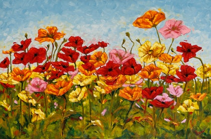 (CreativeWork) Colourful Springtime Poppies Dancing in My Garden by Judi Parkinson. oil-painting. Shop online at Bluethumb.