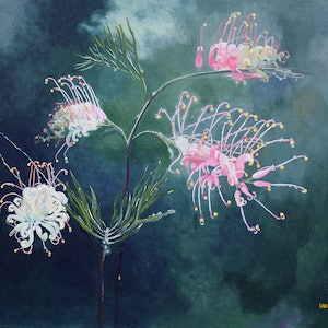 (CreativeWork) Grevillea After the Rain by Ian Keenan. acrylic-painting. Shop online at Bluethumb.