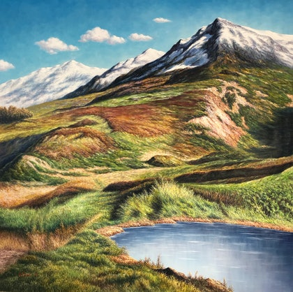 (CreativeWork) Snow Mountain  by Alex Mo. oil-painting. Shop online at Bluethumb.