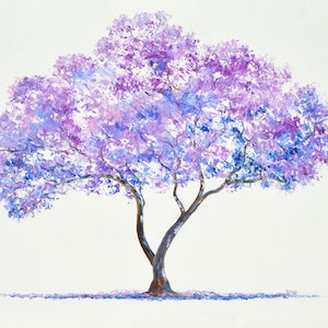 (CreativeWork) JACARANDA TREE by Jan Matson. oil-painting. Shop online at Bluethumb.