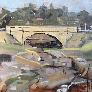 (CreativeWork) Bridge to Beechworth  by Ray Wilson. oil-painting. Shop online at Bluethumb.