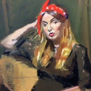 (CreativeWork) The Red Polkadot Scarf by Ray Wilson. oil-painting. Shop online at Bluethumb.