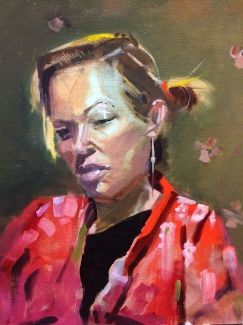 (CreativeWork) The Red Kimono by Ray Wilson. oil-painting. Shop online at Bluethumb.