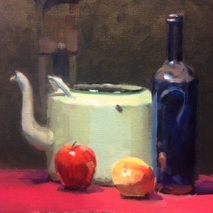 (CreativeWork) The Green Tea Urn by Ray Wilson. oil-painting. Shop online at Bluethumb.