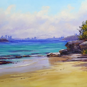 (CreativeWork) View from Milk Beach Sydney Harbour by Graham Gercken. oil-painting. Shop online at Bluethumb.