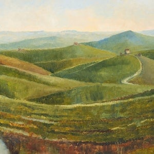 (CreativeWork) Tuscany by Colin Palethorpe. oil-painting. Shop online at Bluethumb.