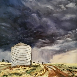 (CreativeWork) The Silo by Meredith Howse. oil-painting. Shop online at Bluethumb.