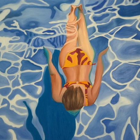 (CreativeWork) orange bikini by mary shackman. Oil Paint. Shop online at Bluethumb.