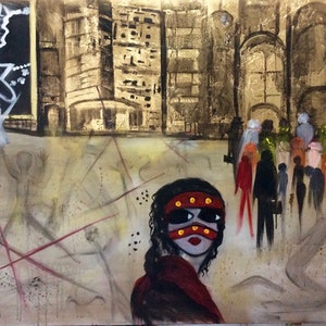 (CreativeWork) All The World's A Stage  by Louise Croese. mixed-media. Shop online at Bluethumb.