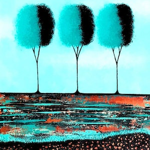 (CreativeWork)  Teal Trees no.2 - two canvas set (diptych) 41cm x 102cm by Lisa Frances Judd. arcylic-painting. Shop online at Bluethumb.