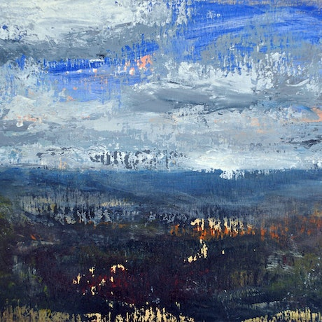 (CreativeWork) Midday Blue Skies by Susan Ruming. Acrylic Paint. Shop online at Bluethumb.
