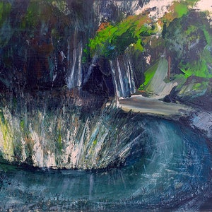 (CreativeWork) Welcome to the Blue Pool by Susan Ruming. arcylic-painting. Shop online at Bluethumb.